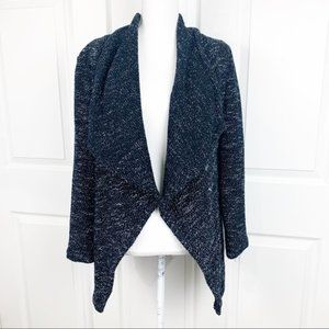 BNCI Blanc Noir Cardigan Sweater Tweed Drape Front